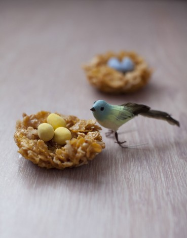 No Bake Bird Nests with Candy Eggs