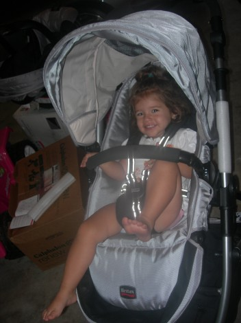 Trying out the Stroller