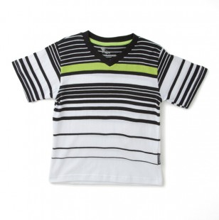 striped v neck boys tee