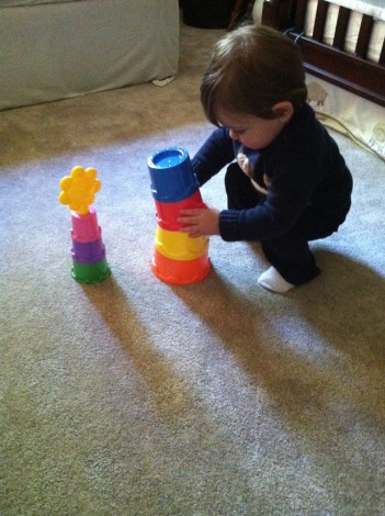 Johnny stacking for the first time!