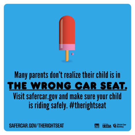 Many parents do not realize their child is in the wrong car seat. Visit Safercar.gov/TheRightSeat and make sure your child is riding safely. #therightseat.