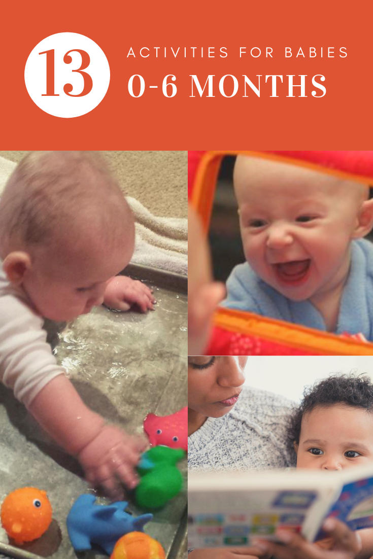 We have provided a list of 13 activities that encourage muslce development, language skills, and bonding for babies 0-6 months.