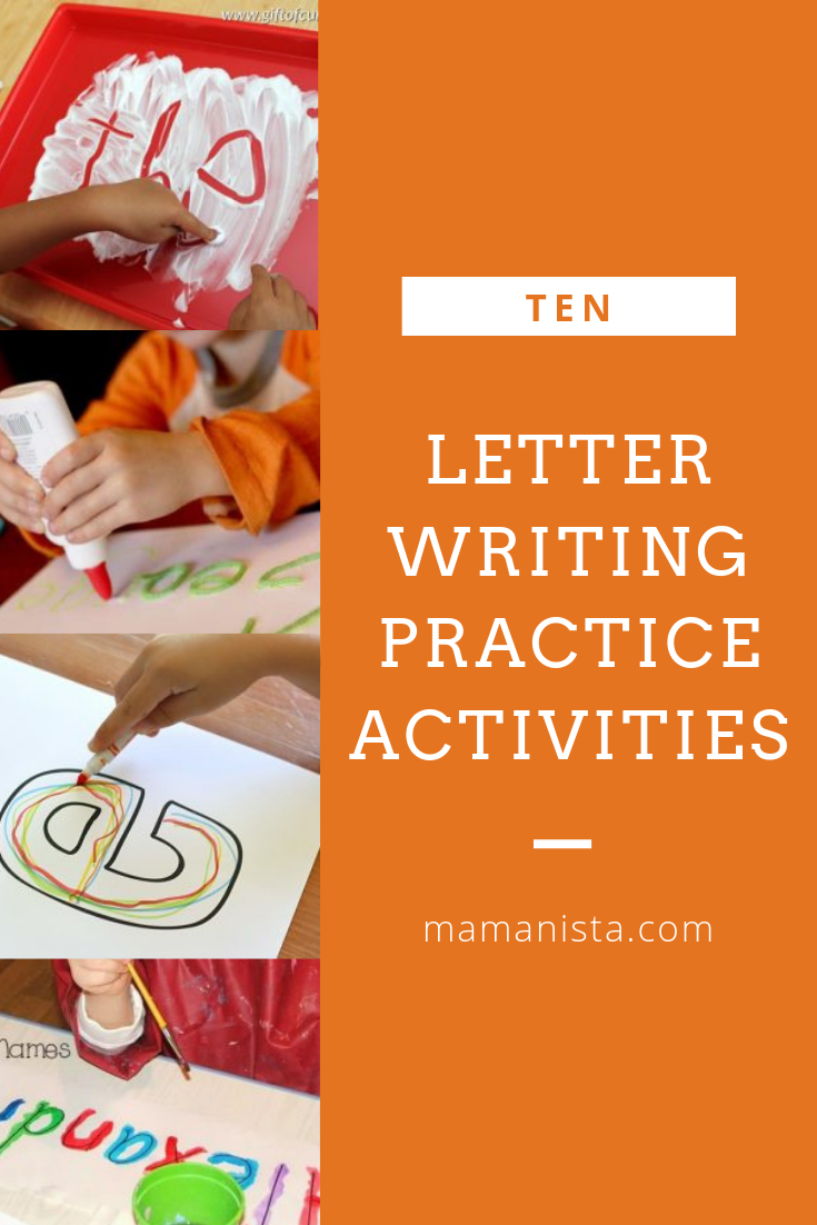 Rather than just using a worksheet or having your child practice with pencil and paper, and a bit of fun and exploration with these 10 letter writing practice activities.